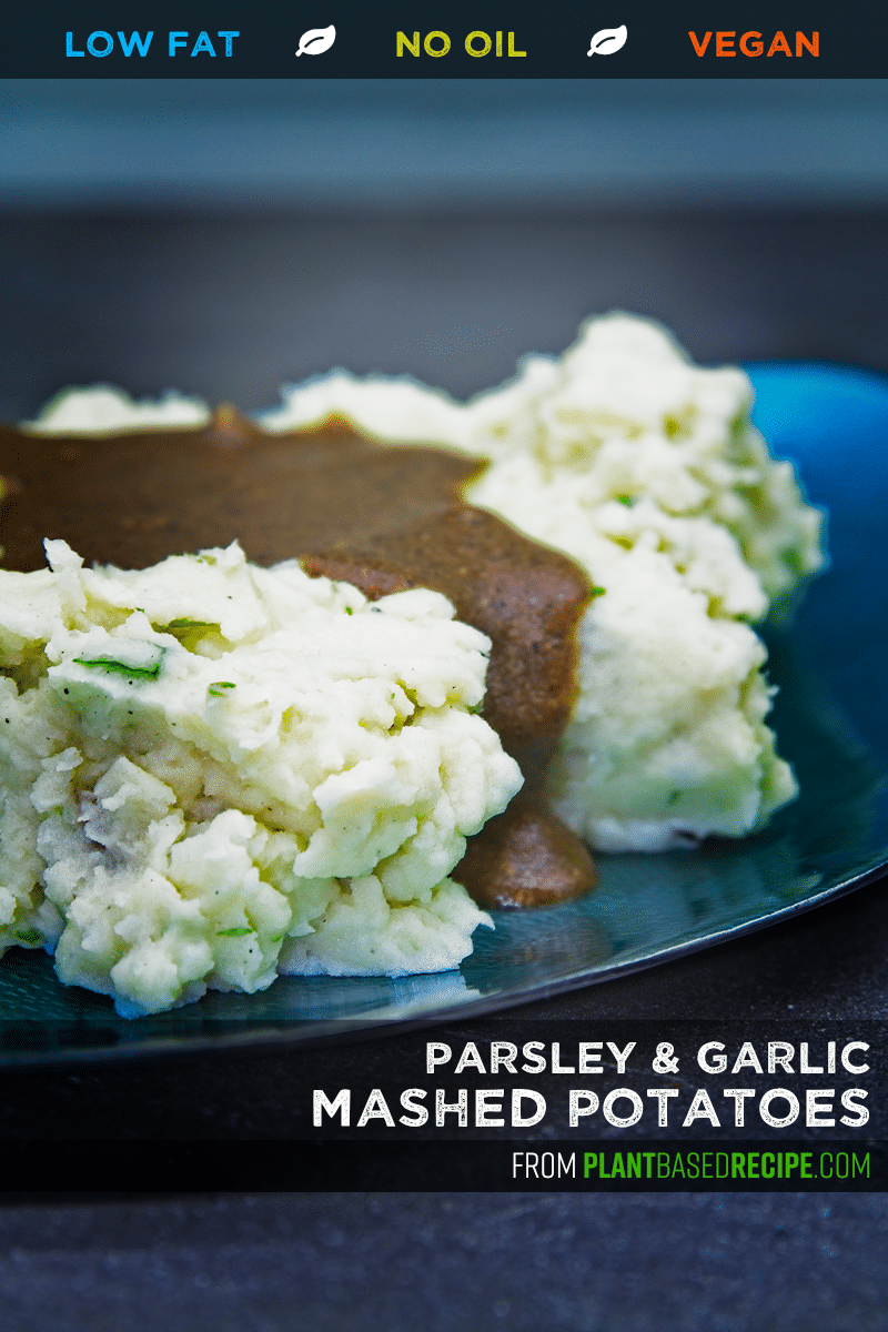 Vegan and oil-free garlic mashed potatoes